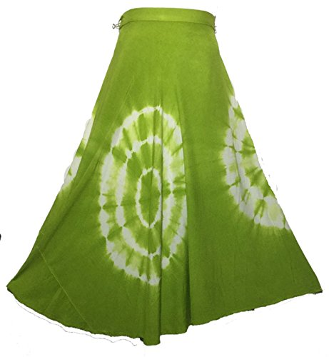Decoraapparel Tiedye Wrap Around Skirts African Wax Print Women's Flared Skirt Cotton Maxi Bright Colors by Decoraapparel