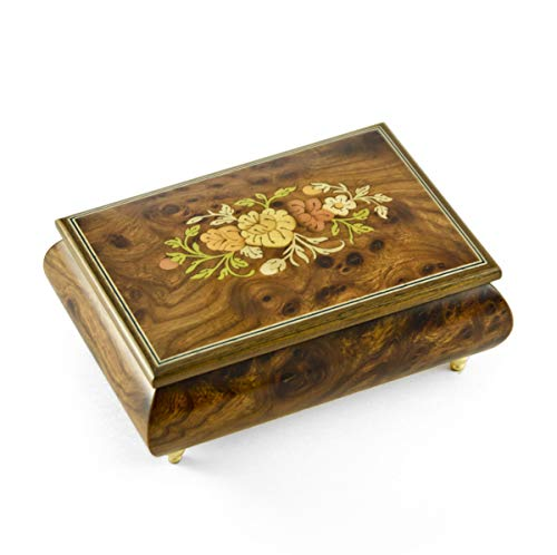 Remarkable Solid Burl-Elm Floral Theme Wood Inlay Musical Jewelry Box - Over 400 Song Choices - Home on The Range (Wood Elm Stove)