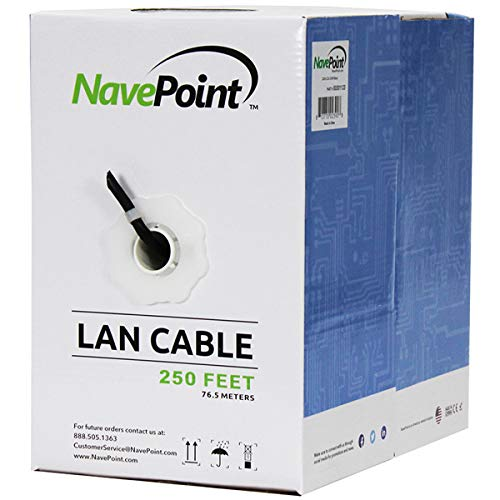 NavePoint Cat6 (CCA), 250ft, Black, Solid Bulk Ethernet Cable, 550MHz, 23AWG 4 Pair, Unshielded Twisted Pair (UTP) (Cat 6 Ethernet Cable 250 Ft)