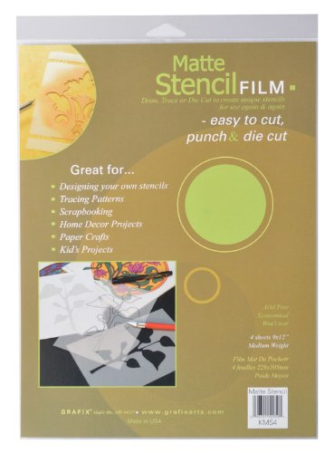 - Grafix 9-Inch-by-12-Inch Stencil Film Matte; 4-Pack