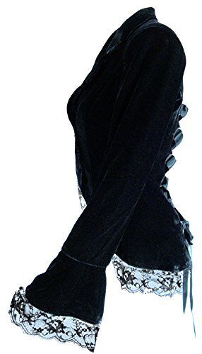 Velvet Passion - Black Victorian Gothic Vintage Style High-Low Lace Corset Jacket (MD) by CSDttT (Image #2)