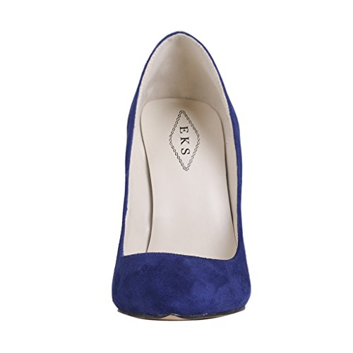 EKS - Merceditas de tacón alto Mujer Azul - Dunkelblau-Suede