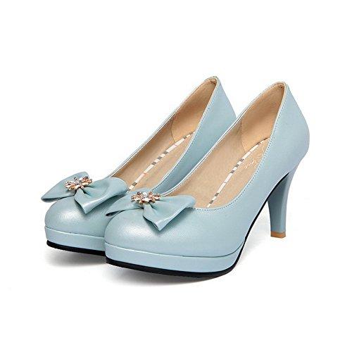 Donne calzature Talloni Pompe Tirano Alte Blu Rotondo Punta Solidi Chiusi Weenfashion PExWzwqzBd