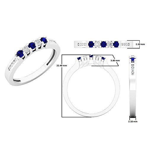 14K Gold Round Blue Sapphire & White Diamond Ladies Anniversary Wedding Stackable Band Guard Ring