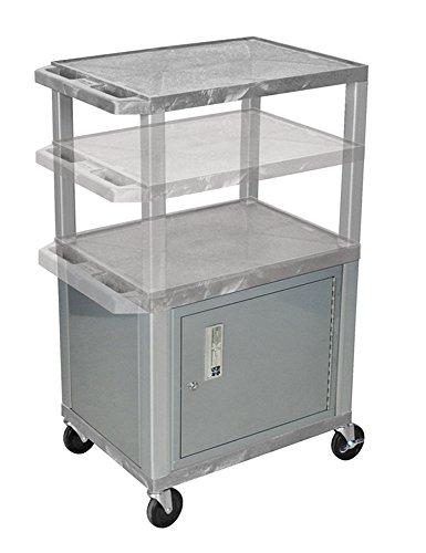 H.Wilson WT2642GYC4E-N Adjustable Height 3 Shelves Gray Audio Visual Presentation Tuffy Cart with Cabinet Nickel Legs (Visual Cart Presentation)
