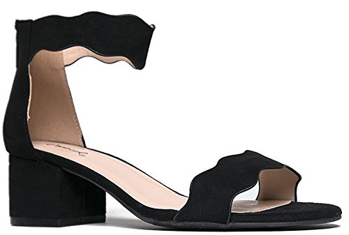 (J. Adams Suede Open Toe Ankle Strap Sandal - Trendy Kitten Heel Shoe - Low Block Formal Heel - Mimi by)