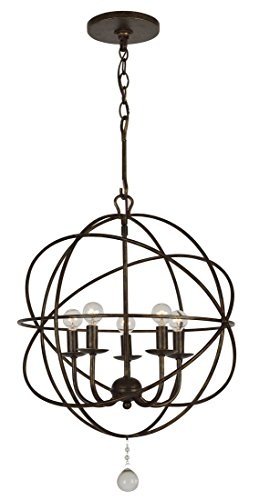 Lighting Heart Transitional Chandelier (Crystorama 9224-EB Transitional Five Light Mini Chandelier from Solaris collection in Bronze/Darkfinish, 17.00 inches)