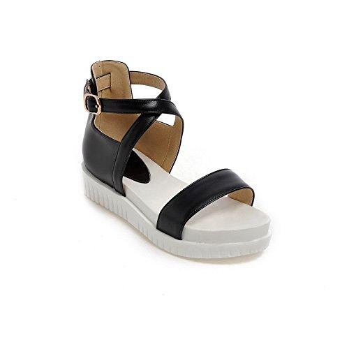 1TO9 Girls Buckle Kitten-Heels Soft Material Sandals Black