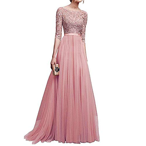 Women Chiffon Lace Solid Long Dresses Special Occasion Bridesmaid Evening Party Elegant Cocktail Prom Gown Maxi Dress (Pink, X-Large) by Cealu