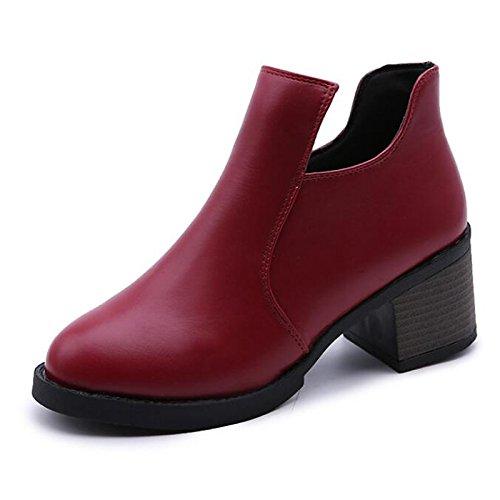casual Chunky tacco Babbucce Burgundy di pu Borgogna Scarpe abbigliamento Nero cadono scarpe HSXZ Comfort donna primavera stivaletti Marrone Bootie 86nqz
