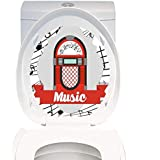 Toilet Sticker Themeative Print Jukebox Old Vintage Music Radio Box Cartoon Image with Notes Artwork Print Red Grey Black and White. Home Decor Applique Papers W8 x L11