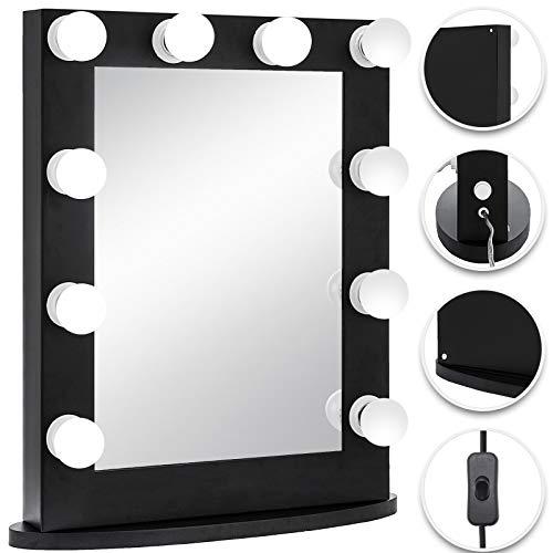 Bisujerro Espejo de Maquillaje con Luz 65x50cm Espejo de Maquillaje con 12 Luces Led Espejo para Maquillaje con Estilo…