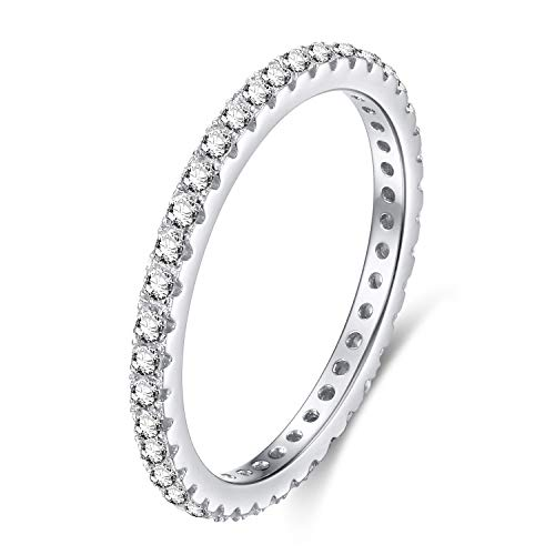 (EAMTI 925 Sterling Silver Wedding Band Cubic Zirconia Stackable Eternity Engagement Ring Size 6.5)