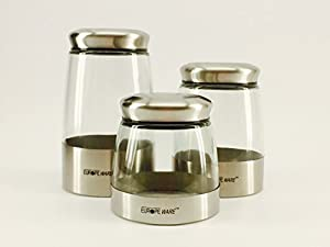 Set Of 3 Kitchen Canisters Stainless Steel With Glass Storage Jar Set, 3  Different Size