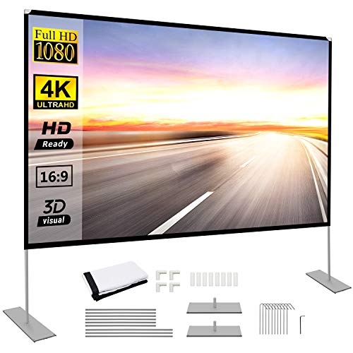 Projector Screen with Stand 100 inch Portable Projection Screen 16:9 4K HD Rear Front Projections Movies Screen for Indoor Outdoor Home Theater Backyard Cinema Trave