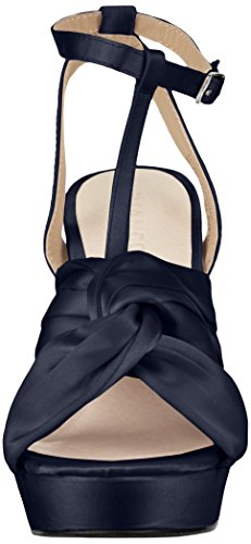 Bianco Satin Strap Sandal, Women's Heels Sandals Blue (Navy Blue 30)