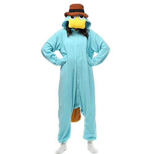 VU ROUL Perry The Platypus Onesie Adul Costume Animal Pajamas Large Blue