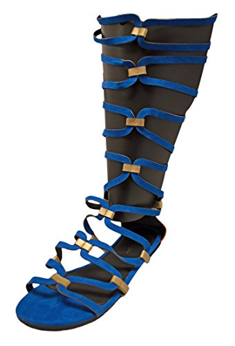 Charles Albert Free Reign Womens Colorblock Caged Calf height Flat Strappy SandalWide Width (9, - Skinny Porn Retro