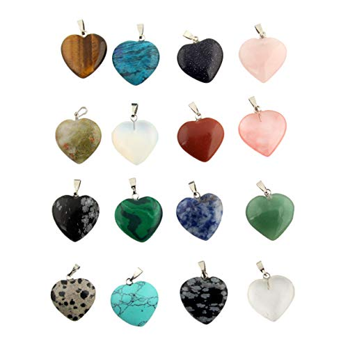 Heart Stone Pendants Healing Chakra Crystal Gemstone Gems Quartz Rondom 30pcs for Necklace Jewelry Making - Gemstone Heart Pendant Bead