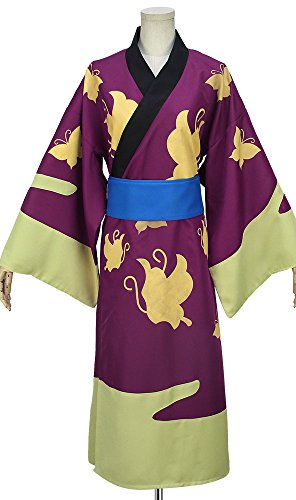Cosonsen Gintama Takasugi Shinsuke Kimono Cosplay Costume Purple Color All Size