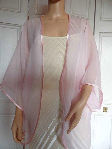 8ffddf710e8 Pale Pink chiffon kimono jacket with satin edging Sizes 10 - 24   Amazon.co.uk  Handmade