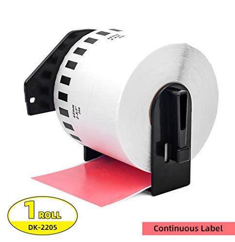 Label Orison -Compatible with Brother DK-2205 Paper Continuous Labels Black on Red 62mm x 30.48m(2-3/7