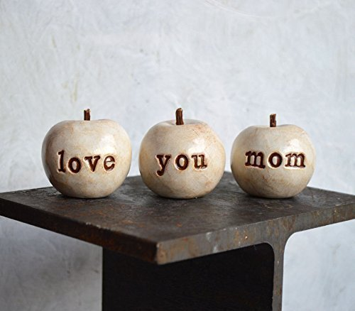 Set of 3 rustic white love you mom apples, thoughtful handmade gifts for moms