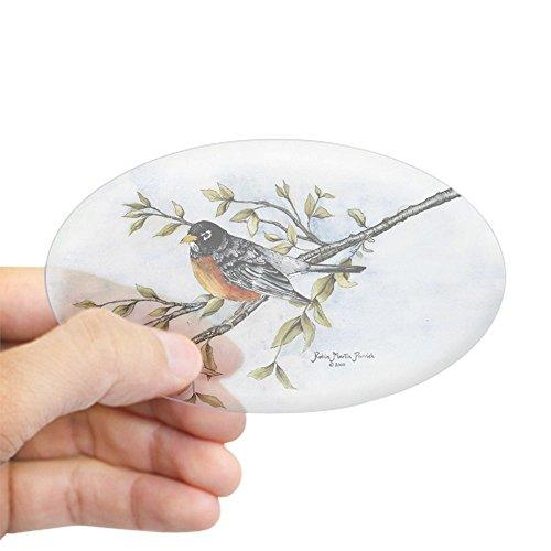 CafePress Robin Bird Oval Sticker Oval Bumper Sticker, Euro Oval Car Decal
