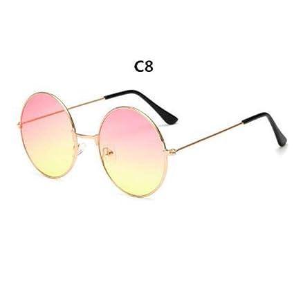QDE Gafas de sol Metal Circular Moda Lentes Marinas Gafas De ...