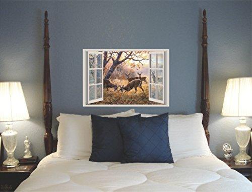 Deer bucks fighting meadow forest autumn window view 3D Wall Decal Sticker 18