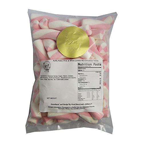 FirstChoiceCandy Pink & White Puffy Poles Marshmallow Twists 1 Pound by First Choice Candy