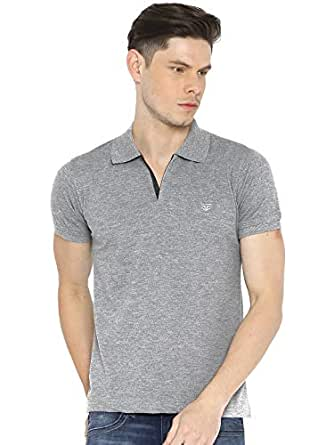 Fifty Two Cool Grey Shirt Neck Polo For Men