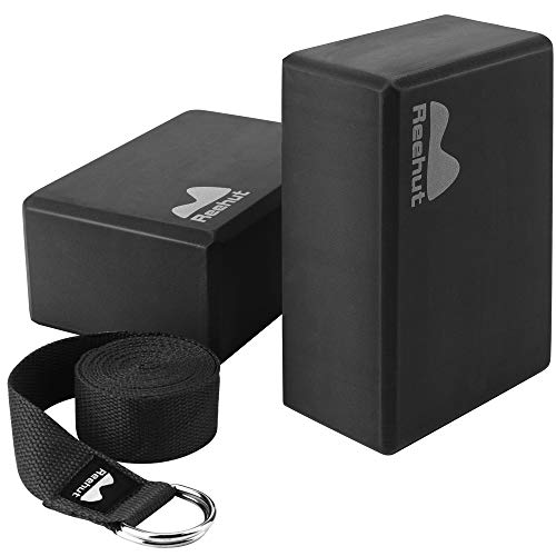 REEHUT Yoga Block (2 PC) and Metal D Ring Yoga Strap(1 PC) Combo Set, 9