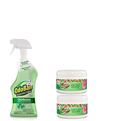 (OdoBan Ready-to-Use Original Eucalyptus 32oz Spray and 2-Pack 8oz Solid Odor Absorbers, Eucalyptus & Wildflower Scent)