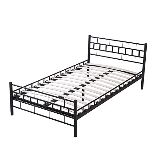WALCUT Wood Slats Steel Bed Frame Platform Headboard Footboard Furniture (Twin Size, Black)