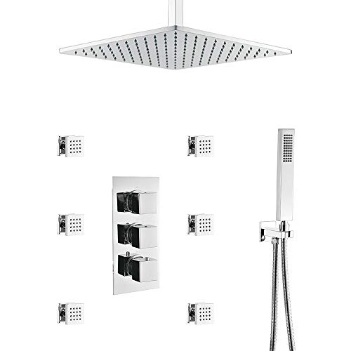 HOMEDEC Thermostatic LED 16inch shower Faucet with 6 Body Sprays  Bathroom Shower System with Hand Shower, Square Fixed Shower Head