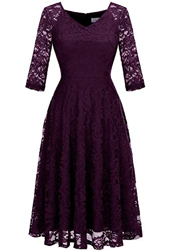 Dressystar Long-Sleeve A-Line Lace Bridesmaid Dress Midi for Wedding Formal Party XL Grape