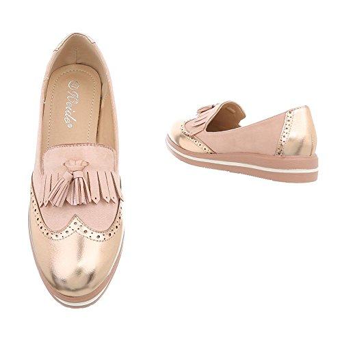 Rosa Mocasines Zapatos Mujer Gold Plano design Ital Yhs6742 Para Slip x0PBF