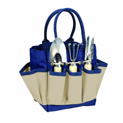 Picnic Time Garden Tote with Tools (Navy/Cream, Large)