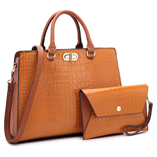 - Dasein Women Fashion Handbags Tote Purses Shoulder Bags Top Handle Satchel Purse Set 2pcs Croco Brown