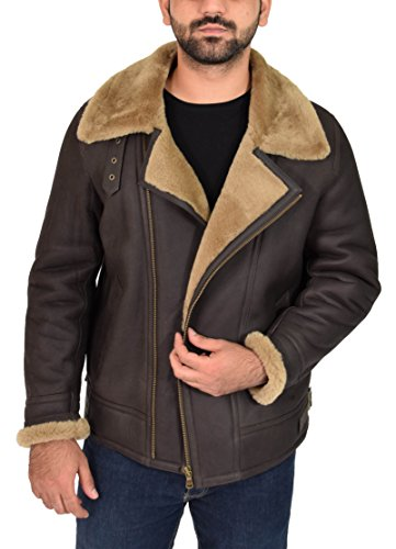 Mens Real Sheepskin Leather Jacket GINGER Shearling B3 BOMBER Pilot Coat - Danny at Amazon Mens Clothing store: