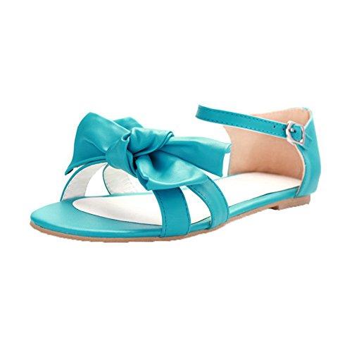 AalarDom Mujer Puntera Abierta Mini Tacón Material Suave Hebilla Sandalias de vestir Azul(1.7cm)
