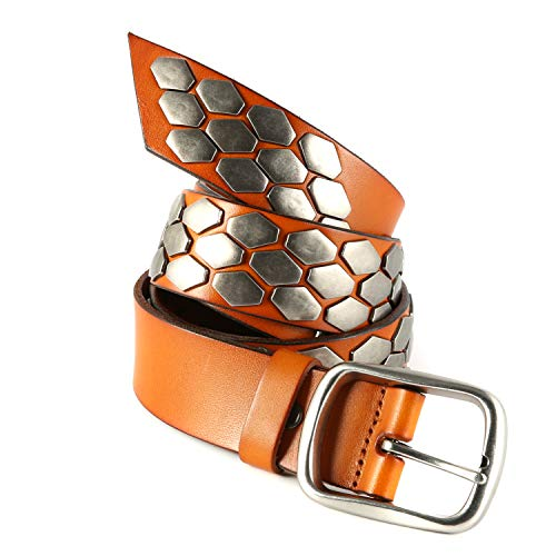 HZMAN Snap On Punk Rock Star Metal Scale Silver Studded Full Grain Cowhide Leather Belt (Brown, 34)
