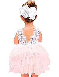 Girl Baby Girl Beaded Backless Lace Back Tutu Tulle Party...