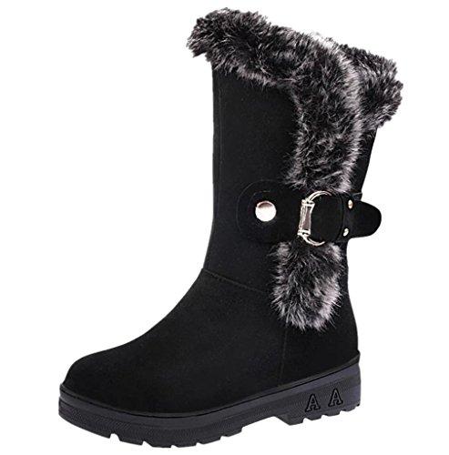 Morecome Kvinnor Mjuk Snö Stövlar Rund Tå Platt Vinter Boots Svart 1