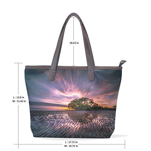 40x29x9 Cm Tote Coosun Muticolour Riflessione Borsa A Cuoio Bag Tracolla Maniglia Dell'unità Di Grande Paesaggio Womens M Elaborazione pZ4naw7q1p