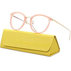 SojoS Round Women Eyeglasses Fashion Eyewear Optical Frame Clear Glasses SJ5969 With Pink Frame/Gold Temple