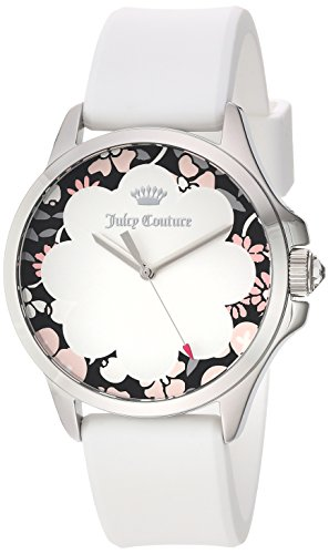Juicy Couture Women's 'JETSETTER' Quartz Stainless Steel and Silicone Casual Watch, Color:White (Model: 1901568)
