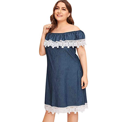 (CCatyam Plus Size Dresses for Women, Skirt Off Shoulder Denim Lace Knee Length Loose Party Fashion)