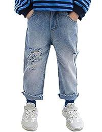 Kidscool Space Raw Edge Legs Retro Ripped Holes Damaged Fashion Jeans